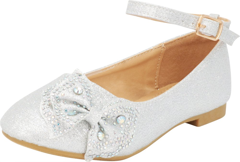 Cambridge Select Girls' Closed Round Toe Buckle Ankle Strap Crystal Rhinestone Bow Ballet Flat (Toddler/Little Kid/Big Kid),2 M US Little Kid,Silver
