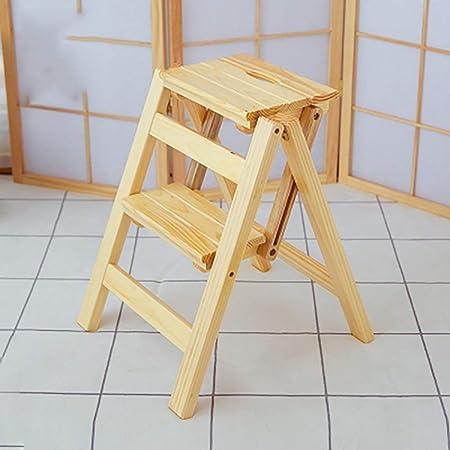Taburete de madera plegable de 2 escalones, taburete de escalera portátil Asiento de escalera Versátil cocina para el hogar Cuarto de baño Muebles de oficina Silla de escalera (Color: color madera): Amazon.es: