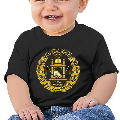 Zuwnqsw Baby Coat of Arms of Afghanistan Unisex Infants Crew Neck Short Sleeve Tee Black