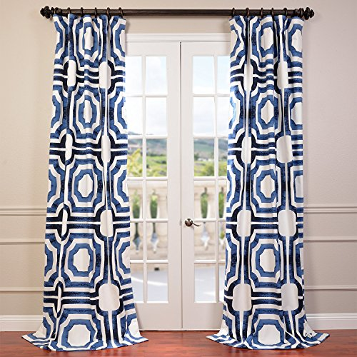 HPD HALF PRICE DRAPES Half Price Drapes PRTW-D23B-108 Mecca Printed Cotton Curtain, 50 x 108, Blue