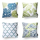 Decorative Pillow Cover - Phantoscope New Living Blue&Green Decorative Throw Pillow Case Set of 4