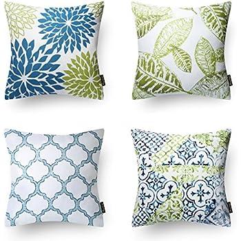 Phantoscope New Living Blue&Green Decorative Throw Pillow Case Cushion Cover Set of 4
