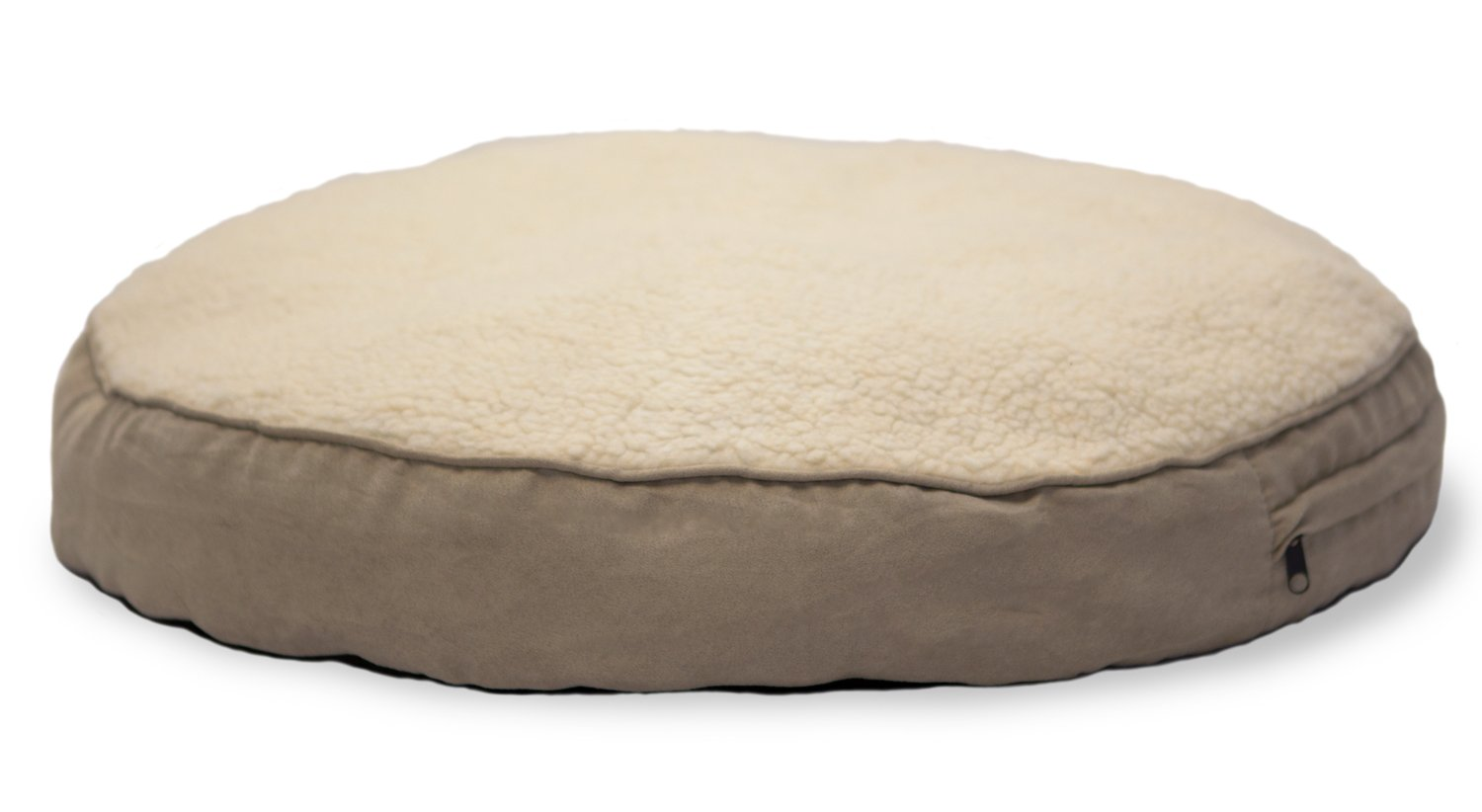 Furhaven Pet Dog Bed | Faux Sheepskin & Suede Round Pillow Pet Bed for Dogs & Cats, Clay, 26-Inch
