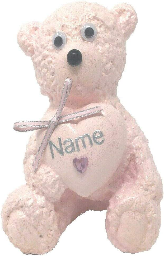 Auntie Or Customised with A Personalised Name Girls Baby Pink Love Heart Teddy Bear Outdoor Cemetery Garden Grave Memorial Tribute Ornament