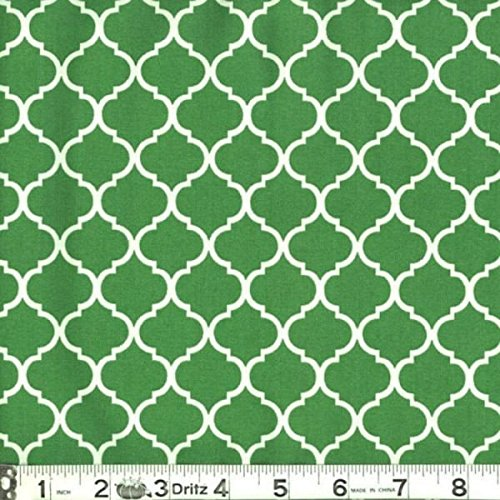 Mini Quatrefoil Fabric White on Kelly Green 100% Cotton by the Yard