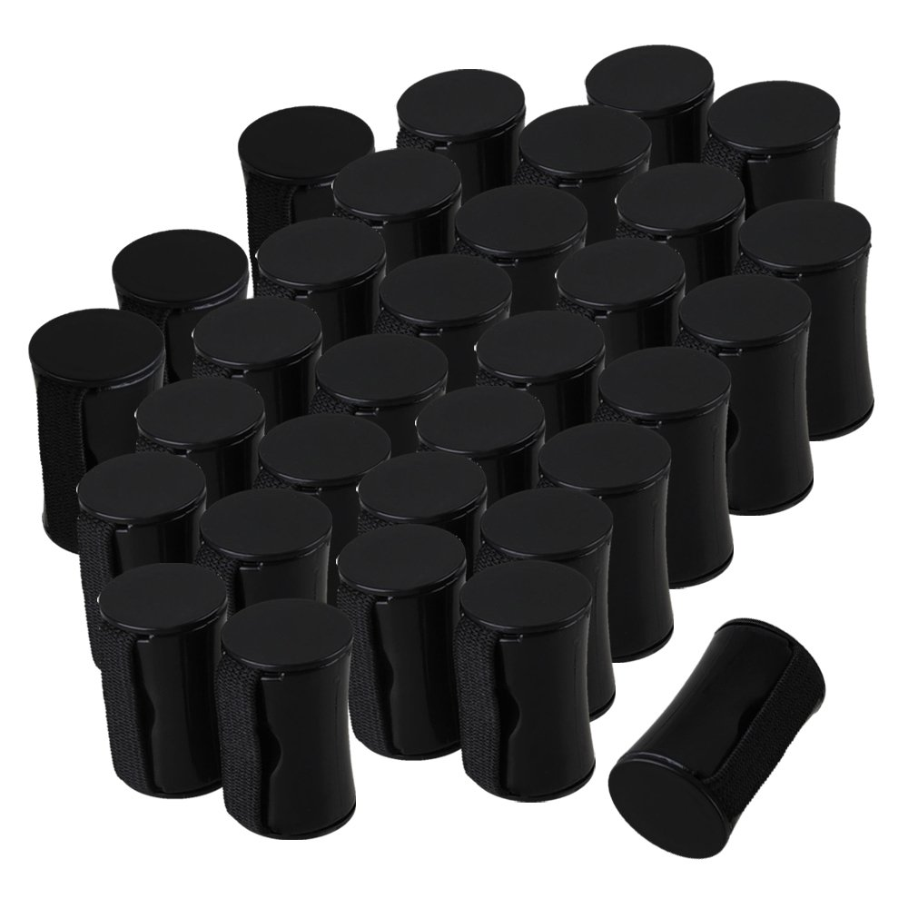 Yibuy Black Rhythm Sand Shaker Music Finger Ring for Ukulele Guitar Set of 100