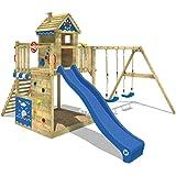 WICKEY Aire de jeux Smart Lodge 150 Tour de jeux pour enfants Cabane sur pilotis avec balançoire et toboggan, grand bac à sable et beaucoup d'accessoires, toboggan bleu