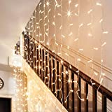18W LED Window Curtain Light, 8 Modes Icicles Starry 3000K Warm White Extendable Christmas String Light, 300 LEDs Decoration for Festival Wedding Party Garden Living Room Bedroom