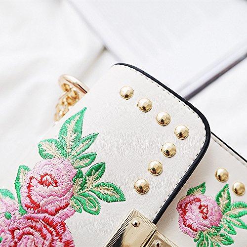 Sac Rose Epaule Broderie en Sac Bandoulière Bag à Porté Cuir Femme Blanc Rameng Crossbody aAqFwXxBx
