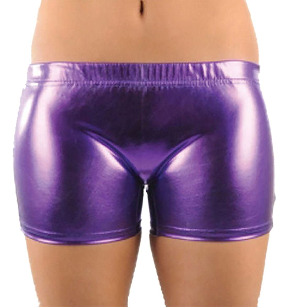 Islander Fashions Girls Metallic Shiny Hot Pants Ladies Wet Look Stretchy Dance Wear Pantaloncini 5-12 anni