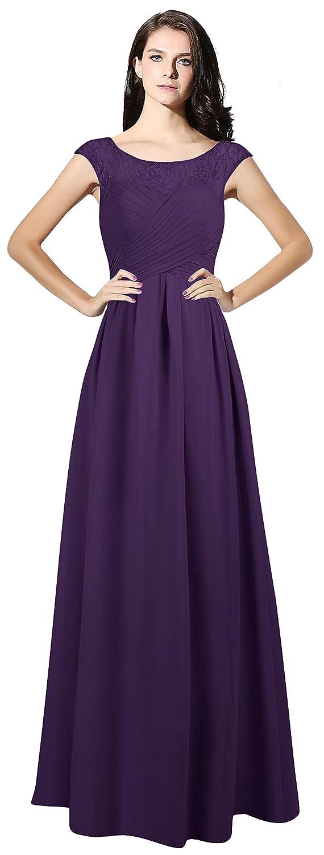Regency CladiyaDress Women Sheer Neck Cap Sleeves Long Evening Dress Bridesmaid Gowns C067LF