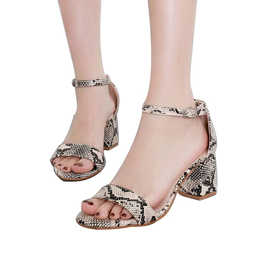 Summer Summer Women Sandals Snake Print Ankle One Word Buckle Sandals Shoes by LUXISDE (Image #3)
