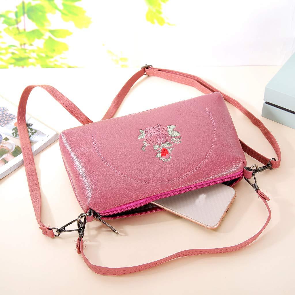Kiminana Messenger Bags,Women's Fashion Simple Embroidery Multi-Function Zipper Shoulder Diagonal Package Pink by Kiminana (Image #3)