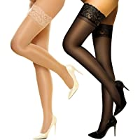 DancMolly Thigh High Stockings Sheer Lace Silicone Stay Up Hosiery Tights Nylon Pantyhose for Women