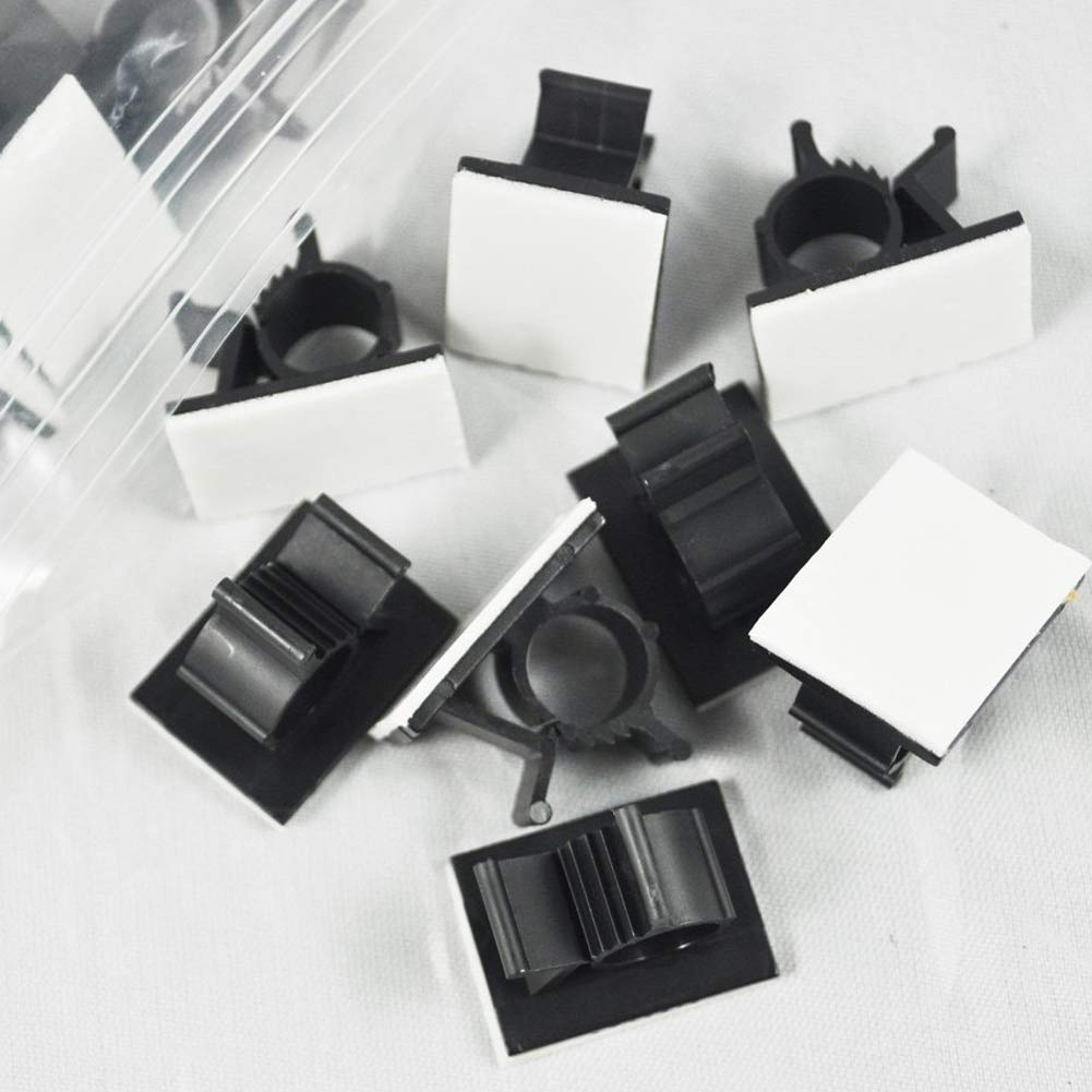 DierCosy 25 PCS UVB Plastic Clips Black Adhesive Backed Nylon Wire Adjustable Cable Clips Adhesive Cable Management Clips Electronic Accessories by DierCosy (Image #3)