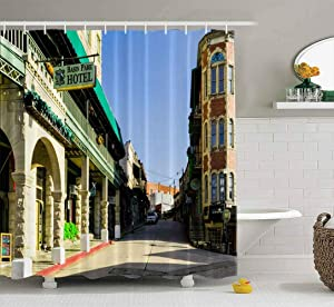 Capsceoll Wide Shower Curtain, Bathroom Shower Curtain Springs USA September Historic Center and Spring Streets in Downtown Arkansas 2018 72X78 Inches with Hooks Fabric Bath Shower Curtain
