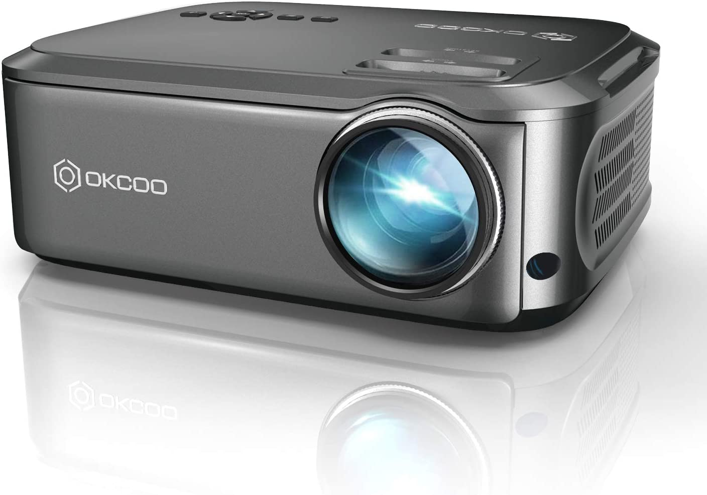 Projector, OKCOO Native 1080P Video Projector Full HD Outdoor Movie Projectors for Home Theater, Upgrade Business PowerPoint Presentations Projector for Laptop, iOS/android, Fire TV Stick, PS4