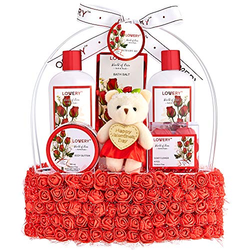 Valentine Day Spa Gift Basket for Women - Red Rose Scented in Floral Handmade Basket With Bubble Bath, Body Butter, Salts, Shower Gel, Flower Soaps, Teddy Bear - Bath and Body Gifts for Wife & Mom