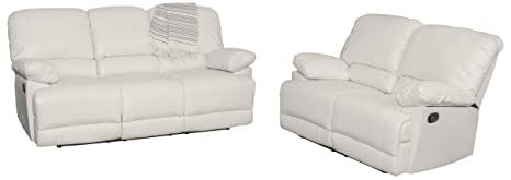 Fine Amazon Com Corliving Lea 2 Piece Reclining Sofa Set White Ocoug Best Dining Table And Chair Ideas Images Ocougorg