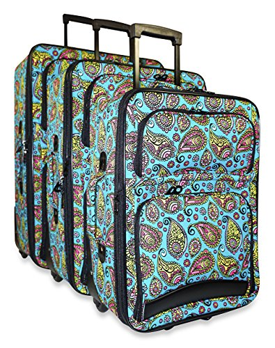 Ever Moda 3-Piece Carry On Luggage Set with Wheels, Rolling Suitcase, Paisley Teal Blue (Cheerleading Outfits Cheap)