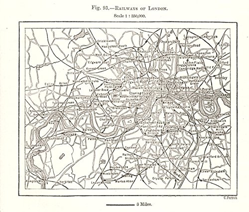 Railways of London. Underground tube. Sketch map - 1885 - old map - antique map - vintage map - printed maps of London