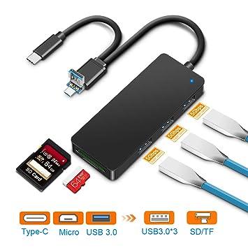 Lector de tarjetas Rocketek, Lector de tarjetas USB / Micro USB / C con SD x 1, Micro SD x 1, Puerto USB 3.0 x 3. Lector de tarjetas de memoria para ...