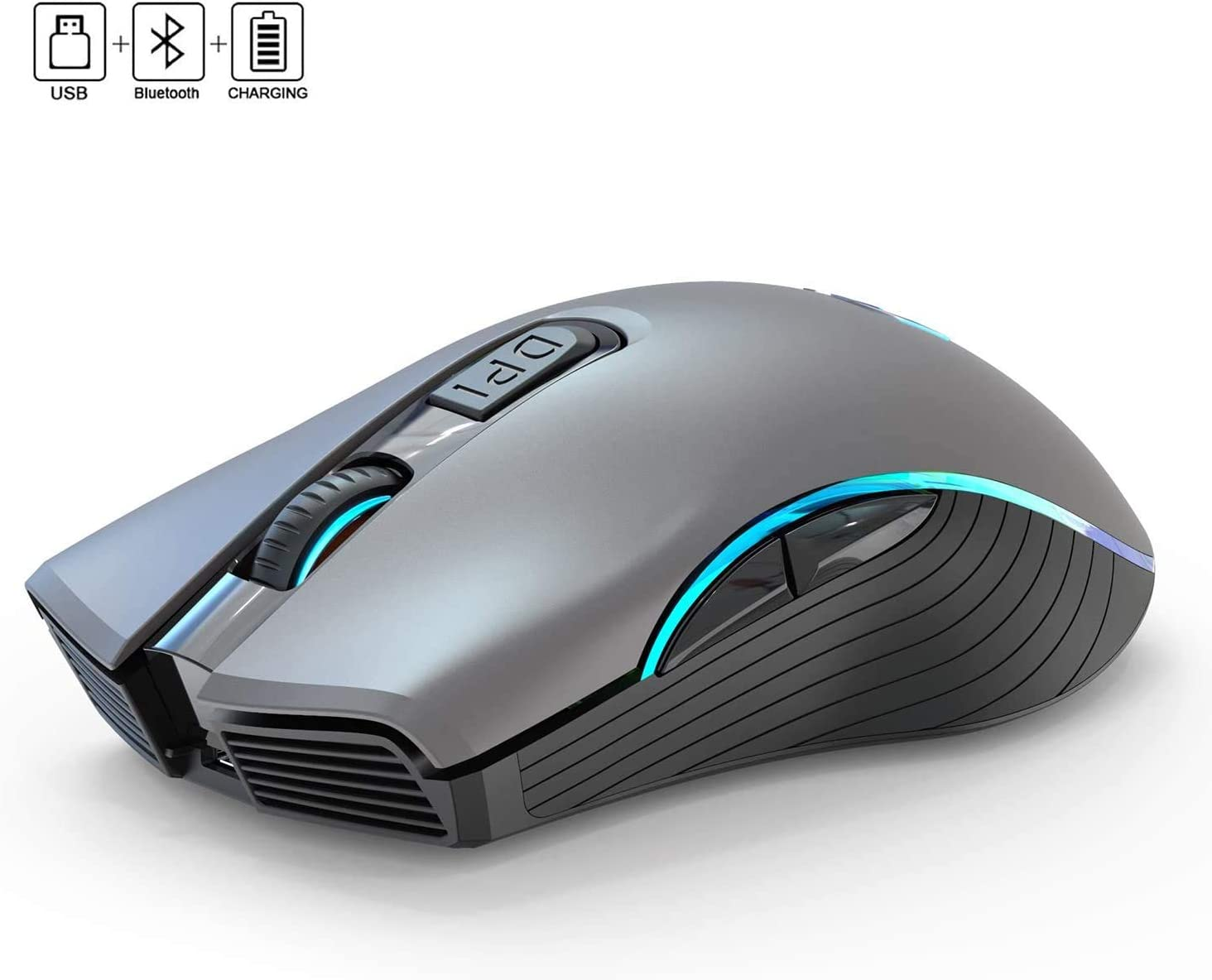 WFB Wireless Gaming Mouse Rechargeable Full Size Bluetooth Mice 2.4G with Nano USB Receiver,3 Adjustable DPI Levels,6 Buttons for Notebook,PC,Laptop,Computer,MacBook(Grey)