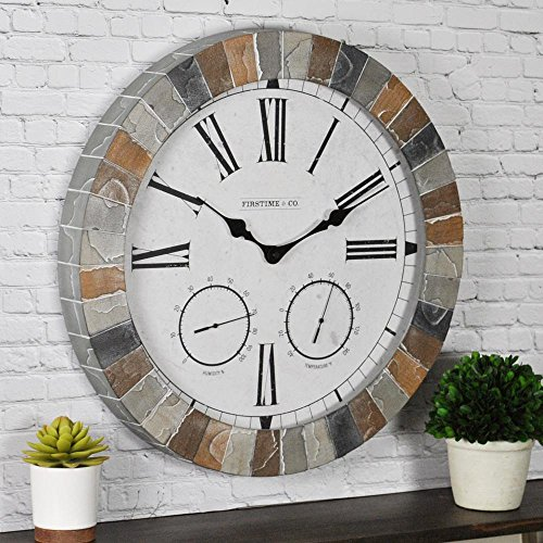 FirsTime 99670 Garden Stone Outdoor Clock Wall, Faux Slate - Clock Thermometer Stone