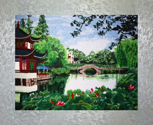 PEA Designs, Suzhou Garden Wall D cor, Chinese Su Embroidery Pattern, Timeless Wall Hanging Artwork, Elegant Needlepoint Tapestry, Traditional Wall Art for Room Decoration, Unique Housewarming Gift Idea, 27-7 8 x 20-23 64