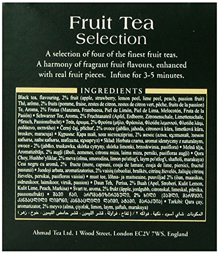 Ahmad Tea Fruit Tea Selection, 20-Count (Pack of 6) 3 Case of six boxes, each containing 20 foil-wrapped tea bags (120 total tea bags) Stimulating tea with a resonant, fruity aroma Enjoy the rare pleasure of a fine English tea