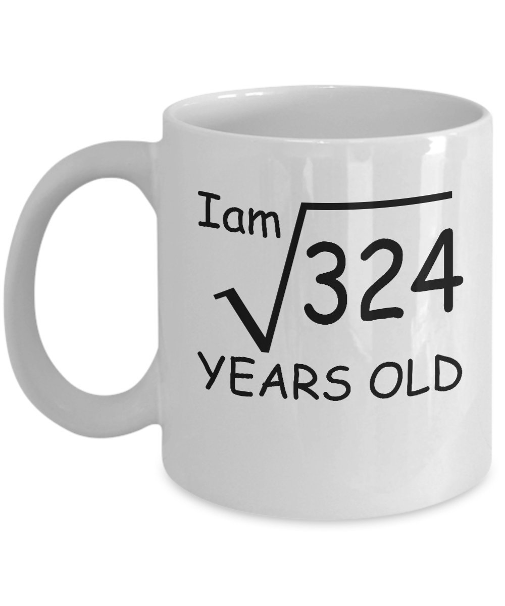 Amazon 18 Year Old Square Root 324 Shirt 18th Birthday Gift Ideas For Boy And Girl Funny Personalized Custom Coffee Mugs DS1 Kitchen Dining