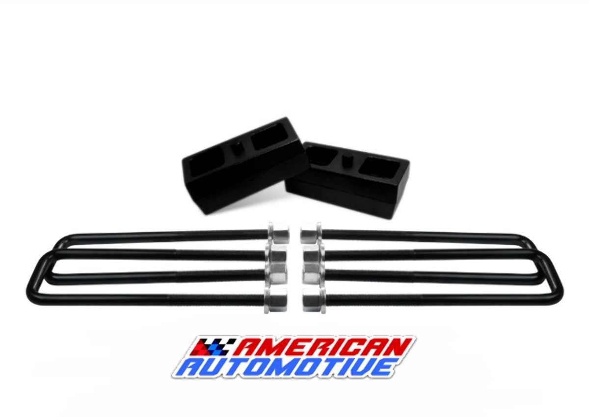3'' Rear Suspension Lift Solid Cast Iron Blocks + Extra Long 12.5'' Square Leaf Spring Axle U Bolts