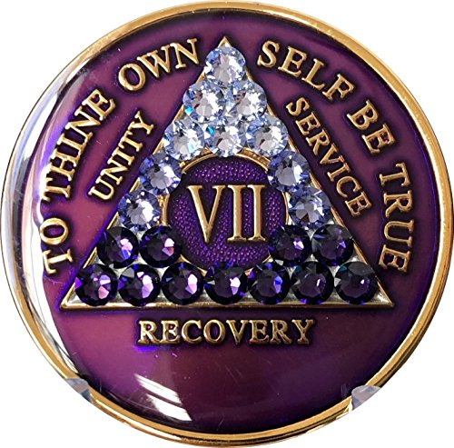 7 Year AA Medallion Purple Tri-Plate Transition Swarovski Crystal Chip VII