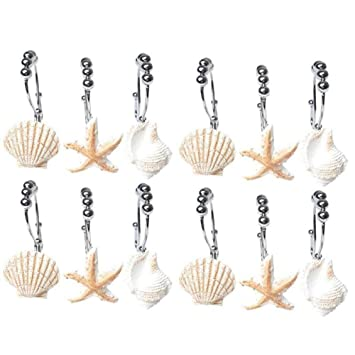 Valink 12 Duschvorhang Haken, Seashell Seestern Vorhang Haken, Bad Vorhang  Beach Shell Haken,
