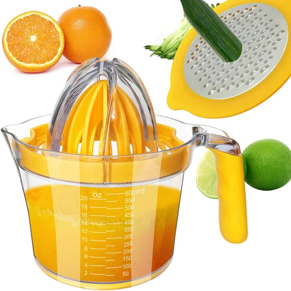 CHEFLY Multifunctional Citrus Squeezer with Two Reamers & Stainless Steel Vegetable Grater & 600ML Measuring Cup with Rubber Handle & Egg Separator All-in-one Manual Juicer J2006