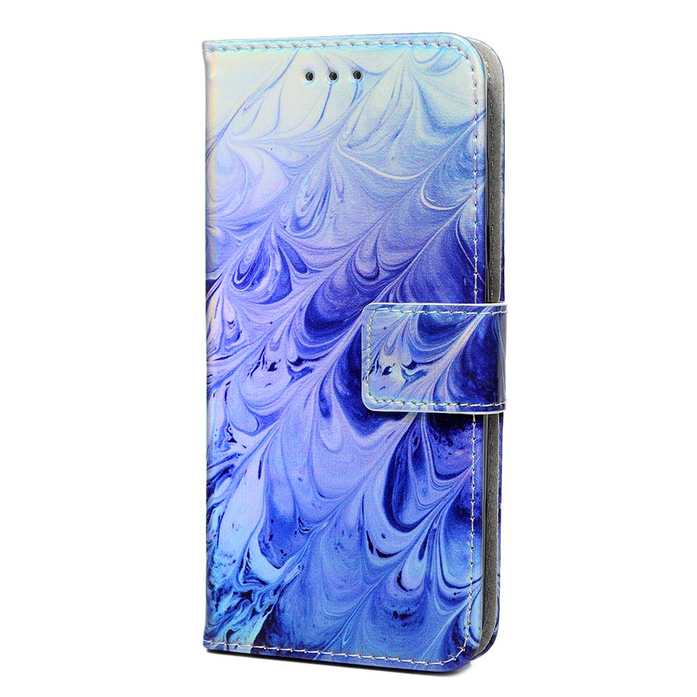 Vagenno Samsung Galaxy J6 2018 Case Flip Shockproof Case 3D Colorful PU Leather Cover Flip Wallet Notebook Case Phone Case with Kickstand Magnetic Card Holder Slot Protective Skin Case,Sky