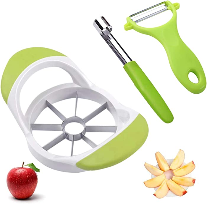 Apple and Pear Slicer Corer, Upgraded Version Large Apple Corer Peeler,Apple Cutter heavy duty,8 Slices Big Size,304 Stainless Steel durable Kithenaid tool(Green)