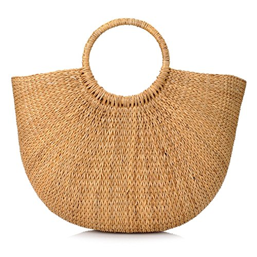Natural Chic Hand-Woven Round Handle Ring Toto Retro Large Casual Summer Beach Handbags (Yellow Grass 15.7x12 H inches)]()