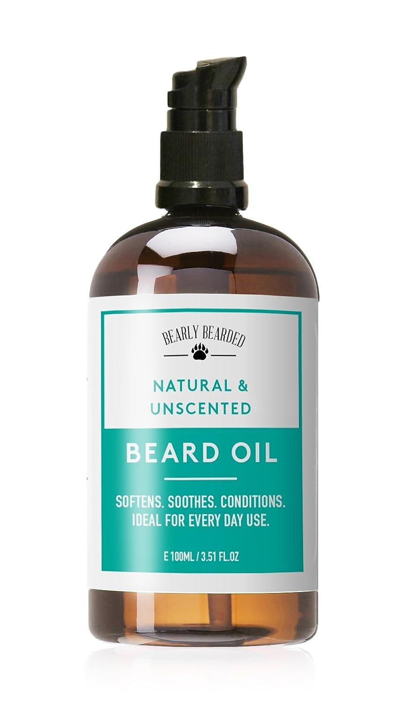 Aceite Para Barba - Una mezcla de aceites 100% naturales para acondicionar, suavizar la barba - Sin fragancia - 100ml (Grande) Bearly Bearded