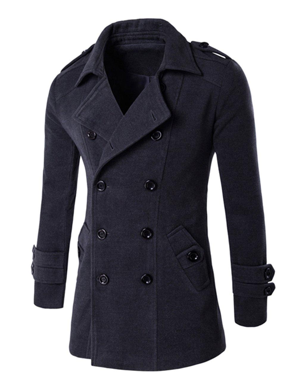 Men's Lapel Collar Dust Coat Stylish Cotton Overcoat with Double Button Wind Coat