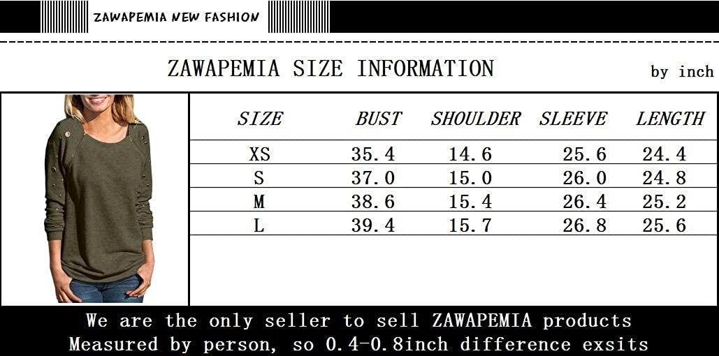ZAWAPEMIA Womens Crewneck Zipper Decor Hole Detail Sweatshirts Tops