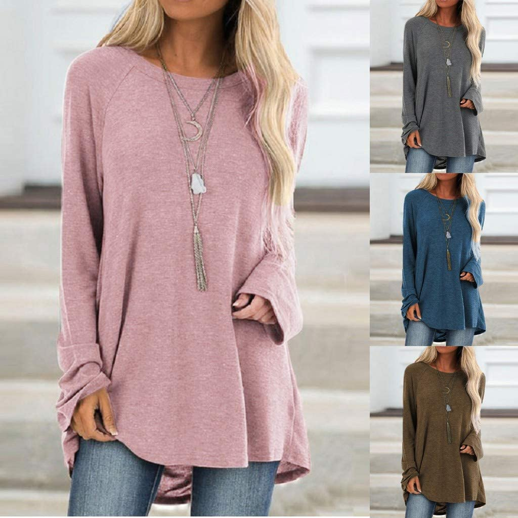 Leaf2you Womens Plus Size Tunic Tops Sweatshirt Round Neck Long Sleeve Solid Loose Pullover Tops Blouse S-5XL