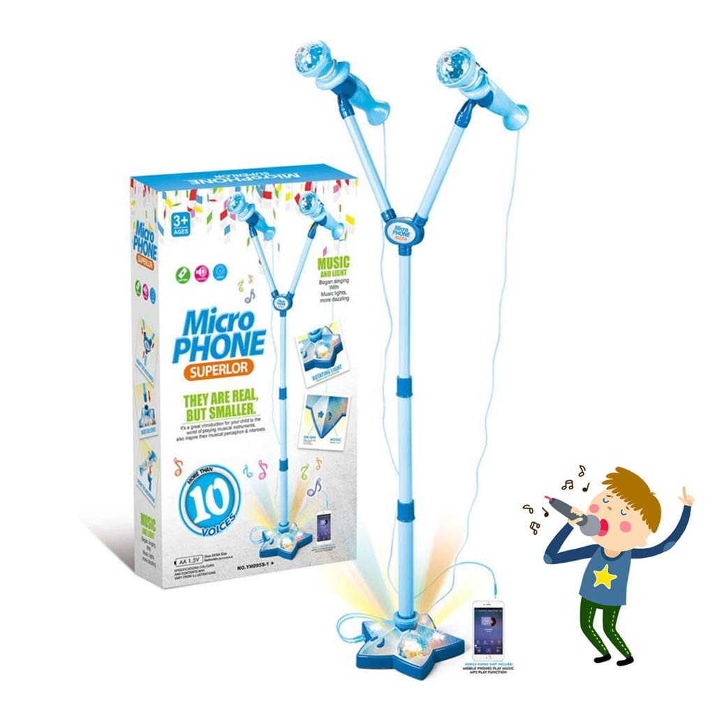 Kidsonor Kids Karaoke Machine with Microphones and Adjustable Stand, AUX Cable Connect to Electronic Devices for Music (2 Mics Blue)