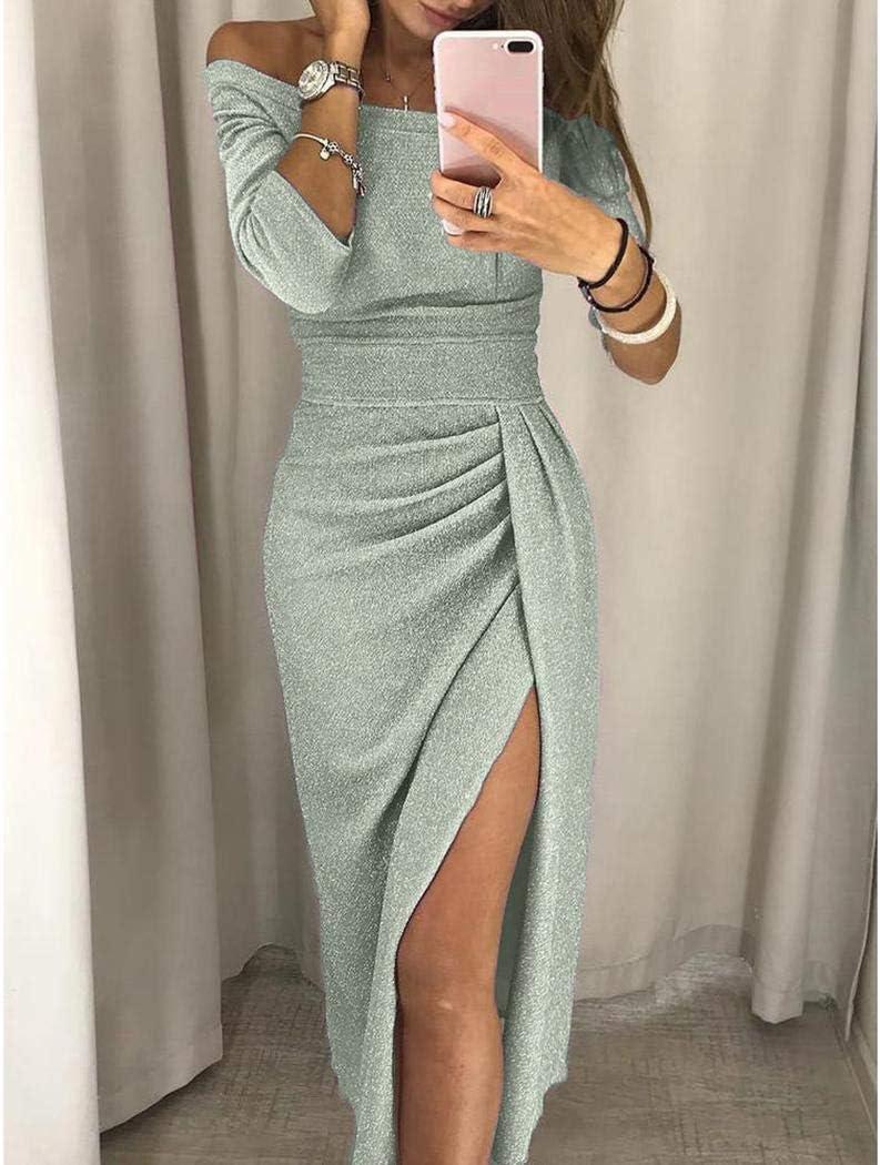 Eroihe New Split Women off The Shoulder Package Fianchi Orlo Split Dress Vestiti