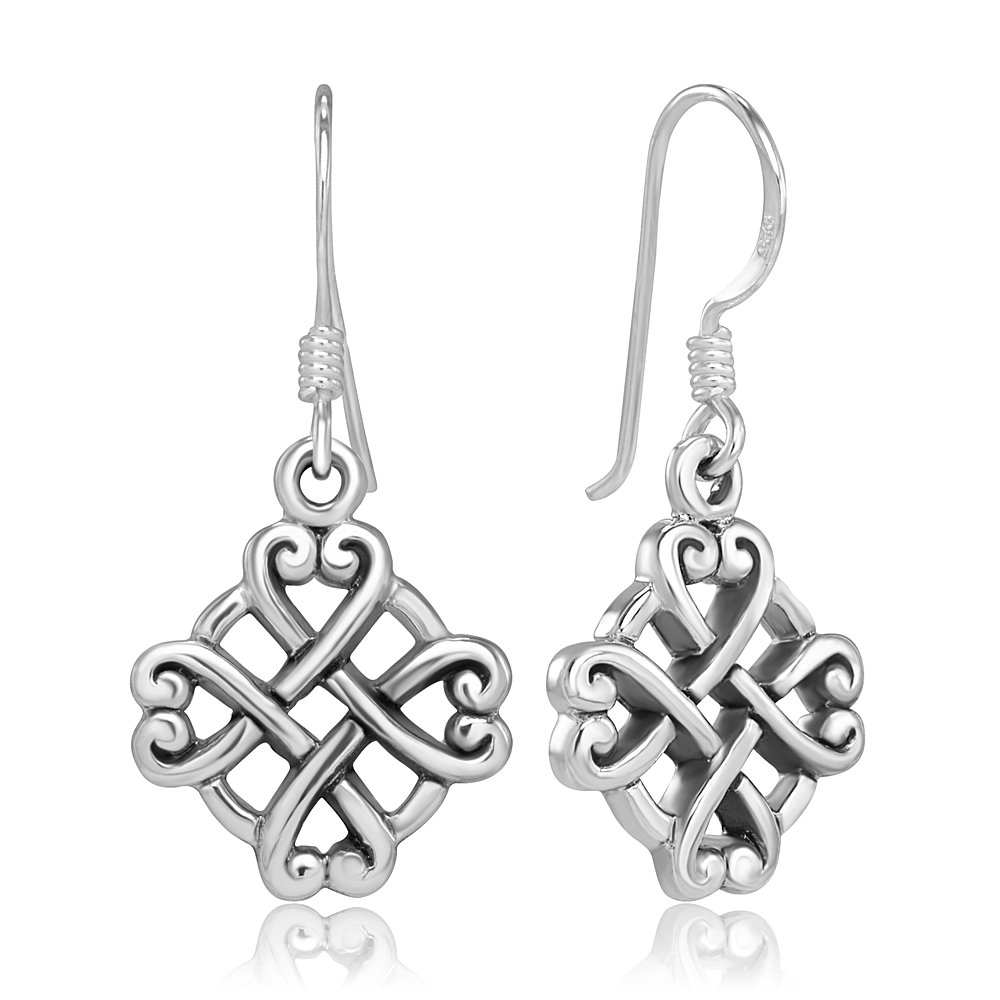 925 Sterling Silver Celtic Knot Endless Love Hearts Symbol Dangle Hook Earrings, 30 mm