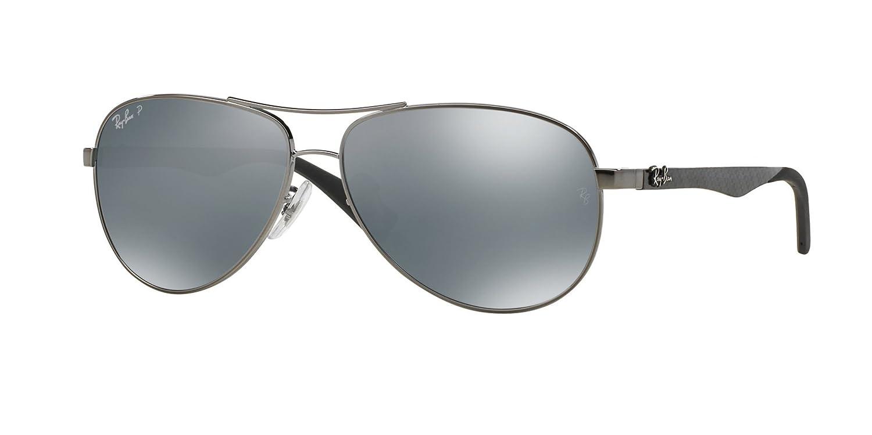 2bb424bb5fe Ray-Ban RB8313 Gunmetal Polarized Silver Mirror 61mm Sunglasses   Amazon.co.uk  Clothing