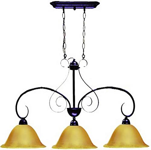 Marquis Lighting 8623-OEB-122 Chandeliers with Streaked Amber Glass Shades, Old English Bronze