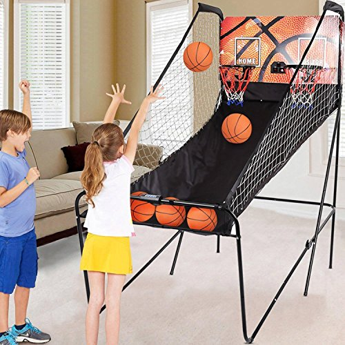 Read About Tomasar Folding Indoor Electronic Basketball Arcade Game 2 Player Double Shot 8-in-1 Electronic Scoring with 5 Balls (US STOCK)