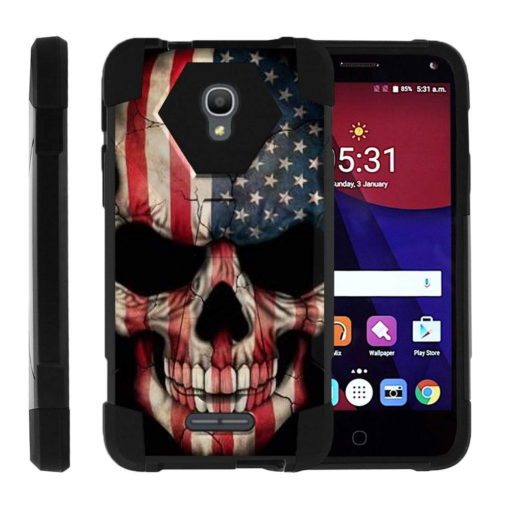 TurtleArmor | Compatible for Alcatel POP 4+ Case (5.5'') | Fierce 4 Case [Dynamic Shell] Hybrid Dual Layer Hard Shell Kickstand Silicone Case - US Flag Skull