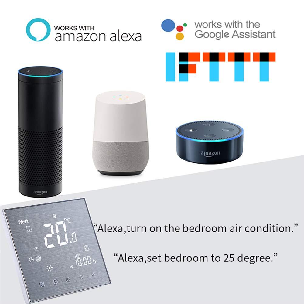 Smart Wifi Thermostat Wifi Programmierbarer Wasserthermostat LCD Display Temperaturregler Funktioniert mit  Alexa Google Home IFTTT 5A Einstellbare Helligkeit Innovation Geb/ürstete Platte